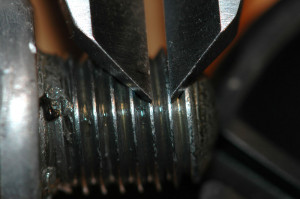 Closeup: measuring bolt thread pitch