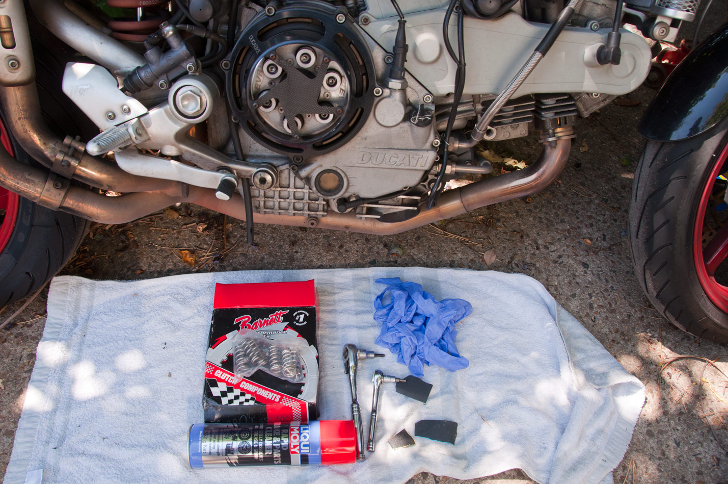 Really, really simple to do a clutch on a Ducati. You'll need your new  plates (+ springs if you want – I like to do them at the same time as I ...